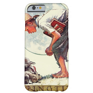 Springtime, 1935 boy with bunny ノーマン・ロックウェル iPhoneケース